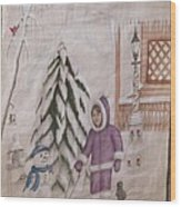 Winter Fun In Fort Hill Wood Print by Diane Mitchell