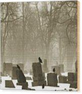 Winter Graveyard Crows Wood Print