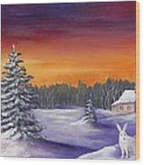 Winter Hare Visit Wood Print