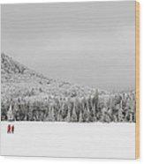Winter Hikers On Lonesome Lake Wood Print