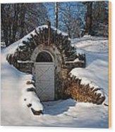 Winter Hobbit Hole Wood Print
