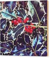 Winter Holly Wood Print