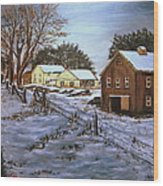 Winter Home and Barn Wood Print