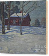 Winter House Wood Print