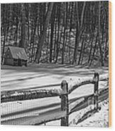Winter Hut In Black And White Wood Print