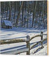 Winter Hut Wood Print
