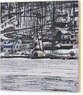 Winter Ice Lake Scene Hopatcong Covered Port Wood Print
