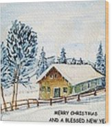 Winter Idyll With Text Wood Print