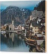 Winter In Hallstatt Wood Print