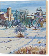 Winter In Lourmarin Wood Print