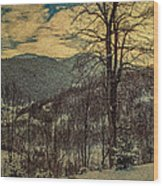 Winter In Mountains Wood Print