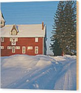 Winter In New England, Mountain View Wood Print