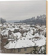Winter In Residential Suburban City Wood Print