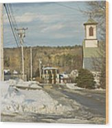 Winter In Round Pond Maine Wood Print