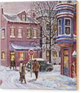 Winter In Soulard Wood Print by Edward Farber