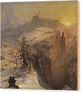 Winter In Switzerland Wood Print by Jasper Francis Cropsey