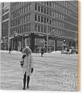 Winter In The City Wood Print