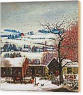 Winter In The Country Folk Art Wood Print