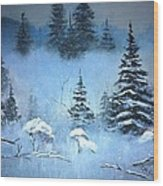 Winter In The Forest Wood Print