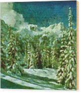 Winter In The Mountains Wood Print