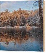 Winter Lake Reflections Wood Print
