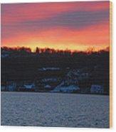 Winter Lake Sunset Wood Print