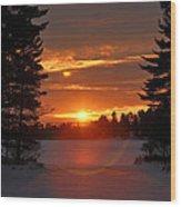 Winter Lake Sunset Wood Print by RJ Martens