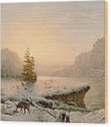 Winter Landscape Wood Print by Mortimer L Smith