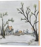 Winter Landscape With Cottage Wood Print by Christine Corretti