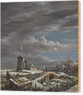 Winter Landscape With Figures On A Path Wood Print