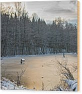 Winter Landscape With Frozen Lake And Warm Evening Twilight Wood Print