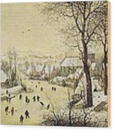 Winter Landscape With Skaters And A Bird Trap Wood Print