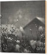 Winter Landscape With Snow Falling And Plants Wood Print