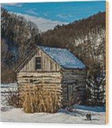Winter Logcabin Wood Print