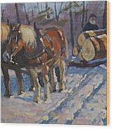 Winter Logging Wood Print