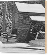 Winter Mill In Black And White Wood Print