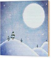 Winter Moon Over Snowy Landscape Wood Print