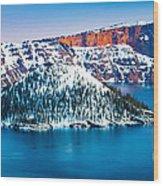 Winter Morning At Crater Lake Wood Print