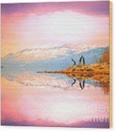 Winter Morning At Okanagan Lake Wood Print