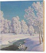 Winter Morning In Engadine Wood Print