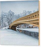 Winter Morning With Bow Bridge Wood Print
