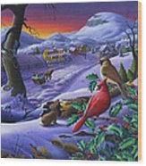 Winter Mountain Landscape - Cardinals On Holly Bush - Small Town - Sleigh Ride - Square Format Wood Print