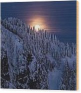 Winter Mountain Moonrise Wood Print