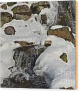 Winter Mountain Stream Wood Print