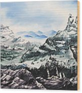 Winter Mountians Wood Print
