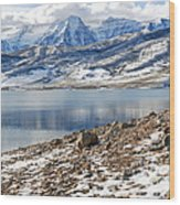 Winter Mt. Timpanogos And Deer Creek Reservoir Wood Print