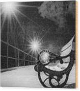 Winter Night Along The River Wood Print