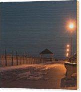 Winter Night Boardwalk Bench Seaside Nj  Wood Print