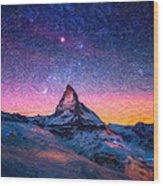 Winter Night High Peak Wood Print