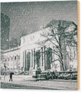 Winter Night In New York City - Snow Falls Onto 5th Avenue Wood Print